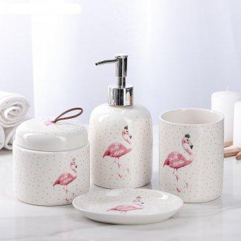 Набор аксессуаров для ванной комнаты, 4 предмета фламинго