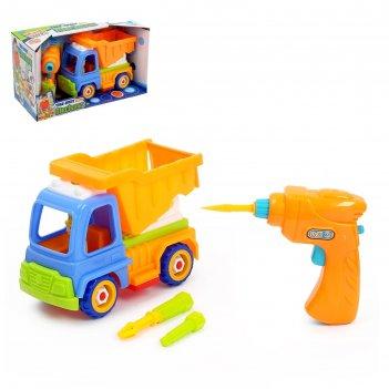 Конструктор винтовой грузовик, с электрич шуруповертом и насадками