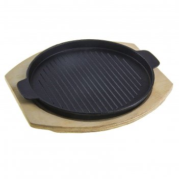 Сковорода 26,7х23,5 см круг. гриль с ручками, на деревянной подставке