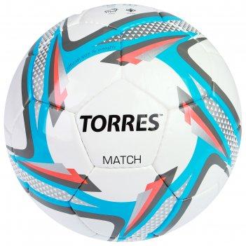 Мяч футбольный torres match р.5, пу, бело-серо-голубой