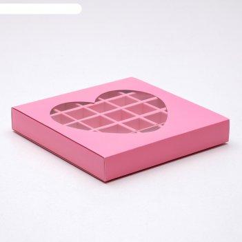 Коробка для конфет 25 шт, 22 х 22 х 3,5 см, розовый