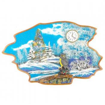 Часы с картиной филин зима 50х32 см