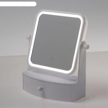 Зеркало с подсветкой luazon kz-05, 4*ааа (не в компл), настольное, квадрат