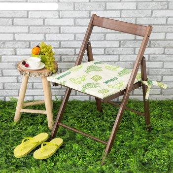 Подушка на стул уличная «этель» кактусы, 45x45 см, репс с пропиткой вмго,