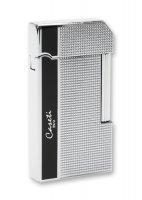 Ca59_4 зажигалка caseti газовая кремниевая, черный лак/хром