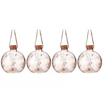 Декоративное изделие шар зимний узор с подсветкой диаметр=10 см (мал=4 шт.