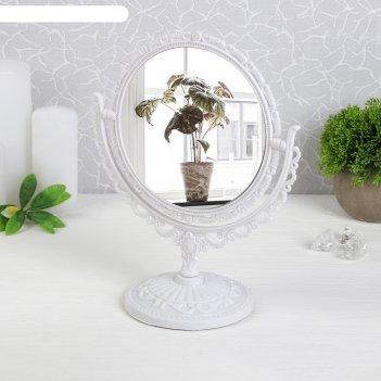 Зеркало настольное «ажур», двустороннее, с увеличением, d зеркальной повер
