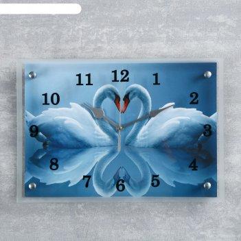 Часы настенные, серия: животный мир, два белых лебедя, 25х35  см, микс