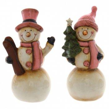 Фигурка декоративная снеговик, l7,5 w7 h15 см, 2в.
