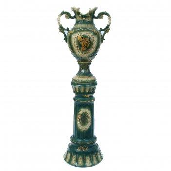 Ваза напольная астория колонна, зелёная