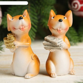 Сувенир полистоун мышонок-удивляка с купюрами/монетками микс 7х3х4 см