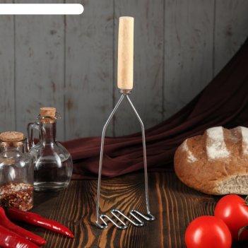 Толкушка с деревянной ручкой змейка, 17,5 см