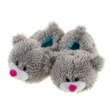 Мягкая игрушка тапочки мишка серый  36 размер