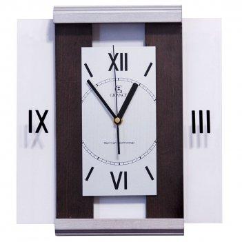 Настенные часы с-01  венге - сильвер 310х270х40 мм