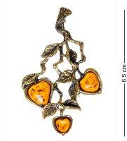 Am-1647 брошь яблочки на ветке (латунь, янтарь)