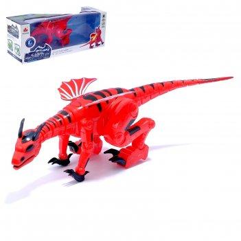 Динозавр-робот dragon, работает от батареек, световые и звуковые эффекты,