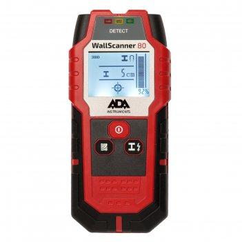 Детектор проводки ada wall scanner 80 а00466, металл/проводка/дерево 80/50