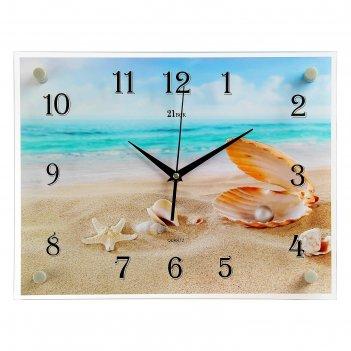 Часы настенные, серия: море, ракушки на песке, 30х40 см