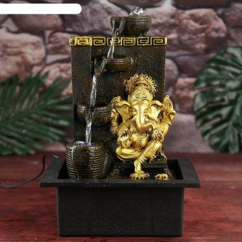 Фонтан настольный от сети золотой ганеша у водопада, греческий узор 35х20х