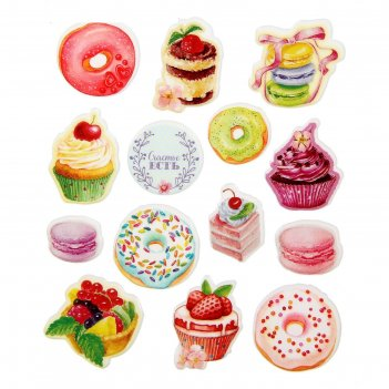 Наклейки пластиковые «сладости и радости», 11 х 13 см