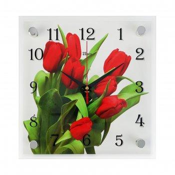 Часы настенные, серия: цветы, тюльпаны на белом фоне, 25х25 см
