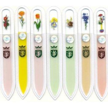 Пилочка 120/140 flowers color стеклян. 2-х стор. 120/140 мм. цветн. в чехл