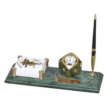 Настольный набор: держатель для заметок из меди , часы из меди, на мраморн