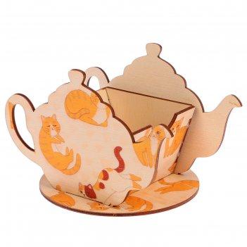 Чайный домик чайничек с котиками 15х8,5х10см