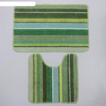 Набор ковриков для ванны и туалета «полоски», 2 шт: 40x45, 45x70 см, цвет