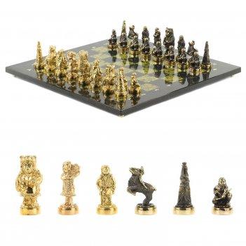 Шахматы северные народы бронза змеевик 400х400 мм