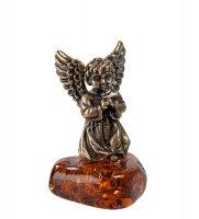 Am-201 фигурка ангел с крыльями (латунь, янтарь нат.)
