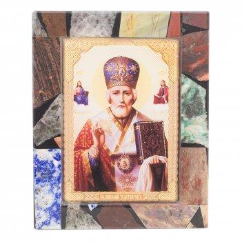 Икона настольная николай чудотворец рамка мозаика из самоцветов 100х130х30