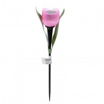 Фонарь садовый на солнечной батарее uniel розовый тюльпан, белый свет, ip4