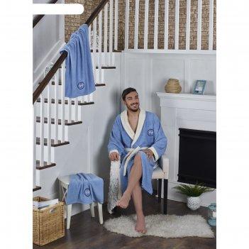 Набор adra, халат l/xl, полотенца 50х90 см, 70х140 см, по 1 шт., голубой