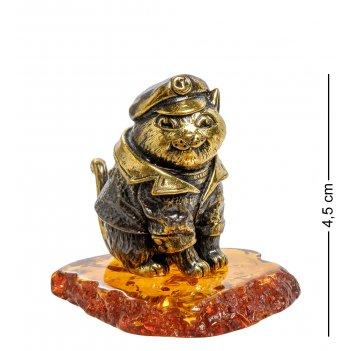 Am-2045 фигурка кот-капитан (латунь, янтарь)