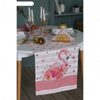 Дорожка на стол со стразами flamingo 40х146 см, 100% хл, саржа 190 гр/м2