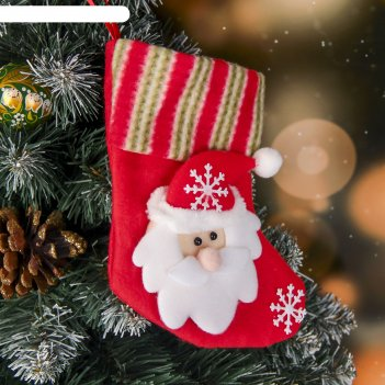Носок для подарка дед мороз и снежинки
