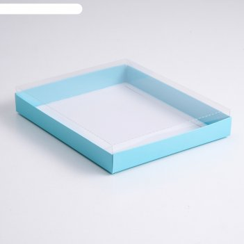 Коробка картонная 260*210*30  с прозрачной крышкой, целлюлоза, голубой