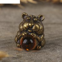 Сувенир из латуни и янтаря хомячок хома 1,9х1,6 см