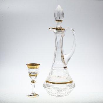 Набор для ликера с золотом bohemia max crystal 7 предметов 1,5л, 60мл