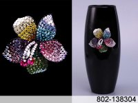 Стеклянные ваза для цветов флора черная.высота=26 см