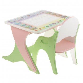 Набор мебели  буквы-цифры: стол-парта, стул. цвет салатовый-розовый