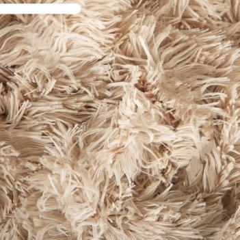 Плед мех шиншилла двухсторонний, 240х220 см, бежевый, 420 г/м2,п/э 100%