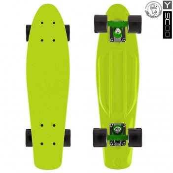 401-l скейтборд y-scoo fishskateboard 22 винил 56,6х15 с сумкой lime