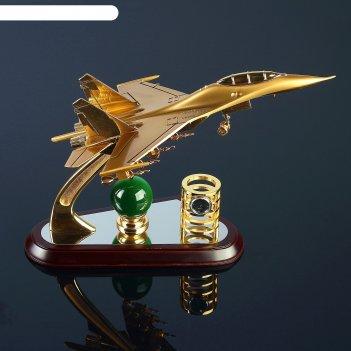 Набор настольный 3 в 1: самолёт, часы, подставка для ручек, 31х11х21 см