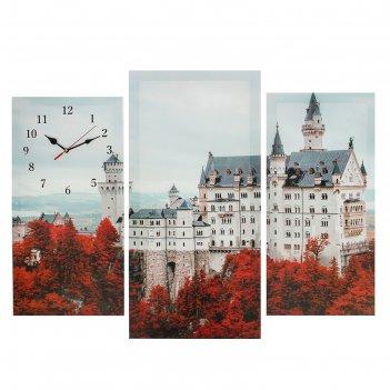 Часы настенные модульные «белый замок», 60 x 80 см