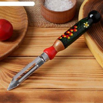 Овощечистка с деревянной ручкой, художественная роспись