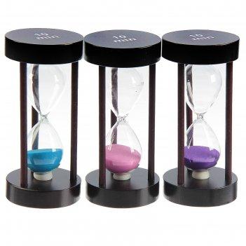 Часы песочные, круглые, 10 минут, мдф, микс песка 8*14см
