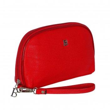 Клатч-косметичка женский, 4 отдела, с ручкой, цвет красный