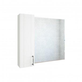 Шкаф-зеркало глория 85 белый матовый